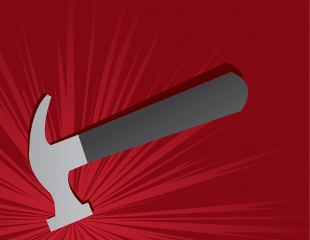 Hammer hitting down hard with explosion Stock Vector - 16913478