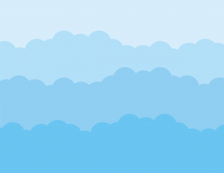 Blue puffy cloud layers background