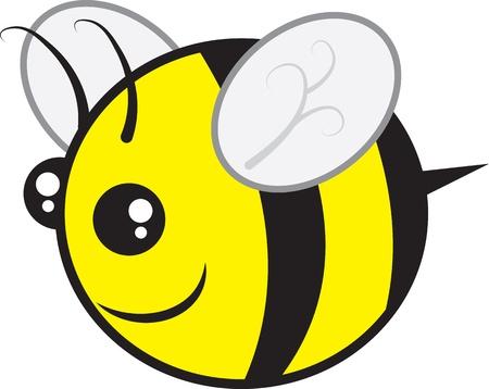 Chubby bee character flying isolated  Illusztráció