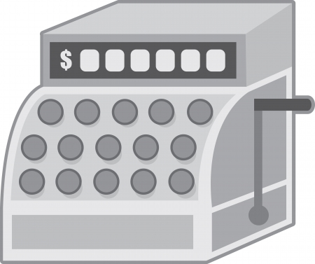 Gray cash register illustration isolated