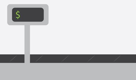 Register conveyor belt with blank total price
