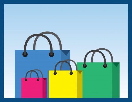 Shopping bags in various sizes and colors  Vector