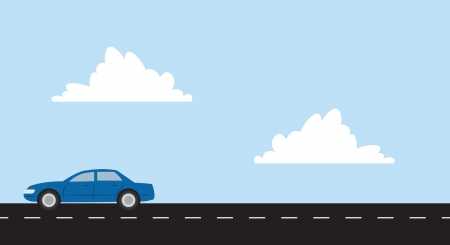 Car driving on a straight roadway
