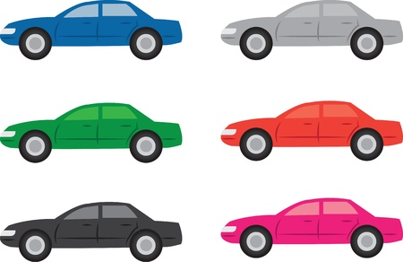 Isolated cars in various colors Stock Vector - 17190362