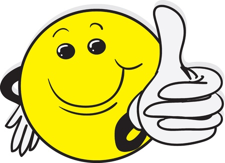 thumb's up: Smiling yellow character giving a thumbs up  Illustration