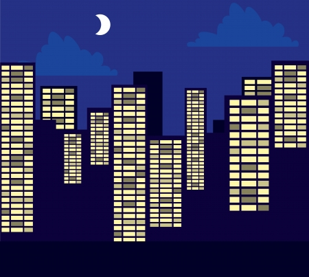 city lights: Buildings skyline and street at night in purple  Illustration