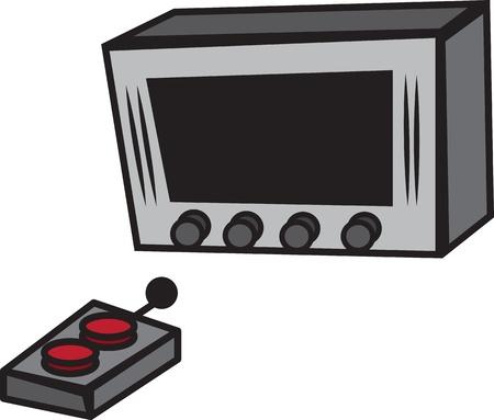 tv remote: Мультфильм ТВ с большими кнопками и дистанционного Иллюстрация