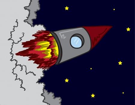 Rocket ship shooting off into space Stock Vector - 17245601
