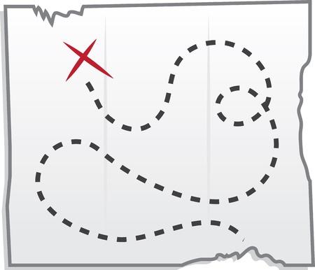 carte tr�sor: Isol� carte au tr�sor avec x marquant l'endroit