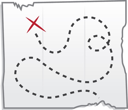 Isolated treasure map with x marking the spot  Illustration