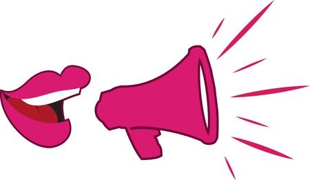 Vrouw s lippen spreken in megafoon