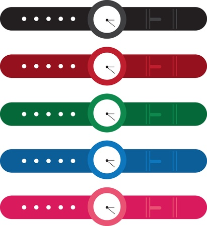 Isolated wrist watches in various colors Stock Vector - 17278543