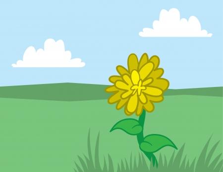 Single yellow dandelion in a field  Illustration