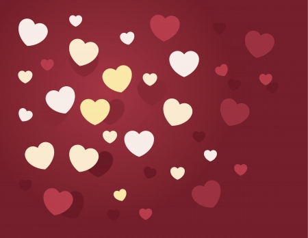 Randomly hearts scattered in various sizes