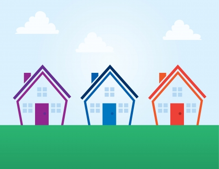 Various colored outline abstract houses