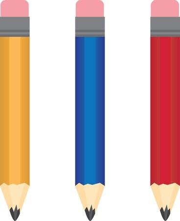 preschool teacher: Different colored regular pencils isolated  Illustration