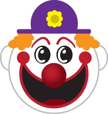 clown cirque: Grand dessin anim� isol� visage de clown Illustration