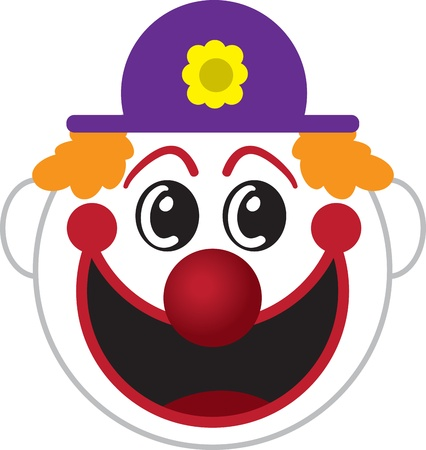 big hat: Large isolated cartoon clown face   Illustration
