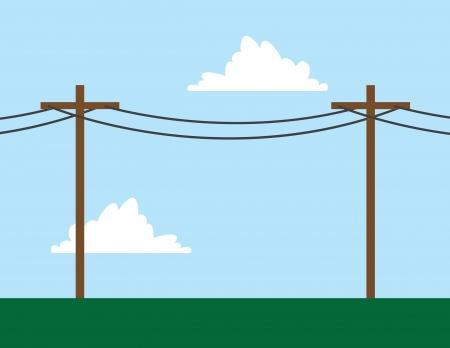 cable telefono: Postes de teléfono en frente de la escena cielo