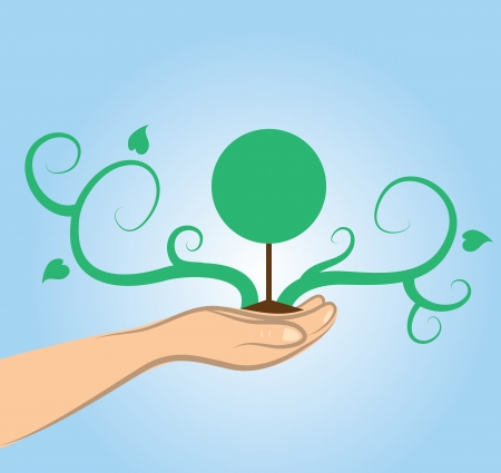 Tree growing vines and leaves from hand Stock Vector - 17358917