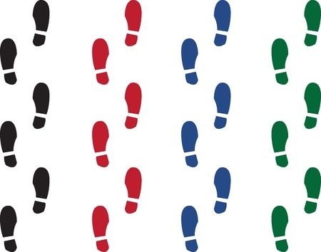 Various colored shoe prints.  Black, red, green and blue  Stock Vector - 17377021
