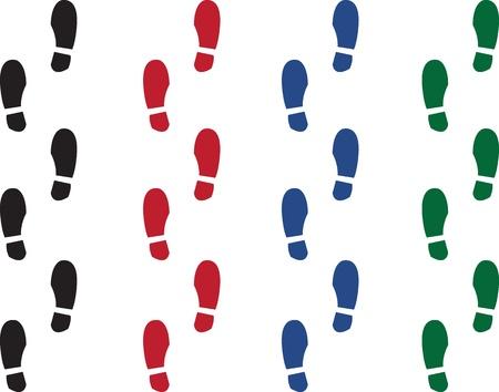 Varias huellas de zapatos de colores. Negro, rojo, verde y azul