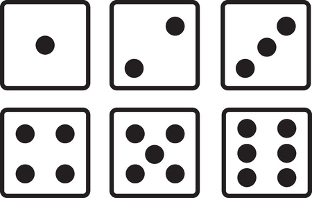 Isolated dice showing every side