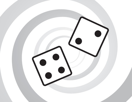Dice rolling in front of spiral background