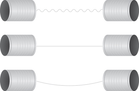 Tin can téléphones sur une chaîne Banque d'images - 17424713