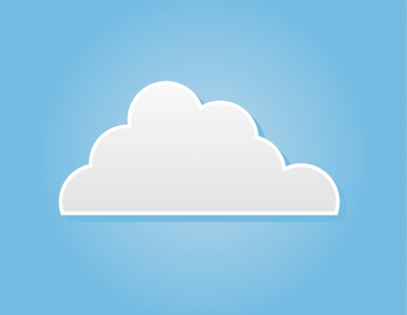 puffy: Simple cloud in front of blue background  Illustration