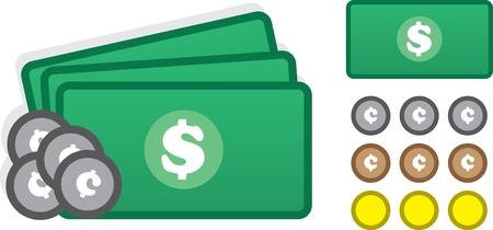 현금과 동전을 포함한 다양한 돈 아이콘