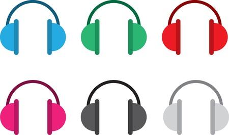 Isolated headphones in various colors  Illusztráció