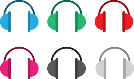 earmuffs: Isolated headphones in various colors  Illustration