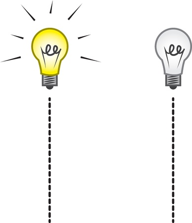 Lightbulb on a string on and off Stock Vector - 17424738