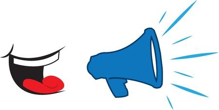 Mouth yelling into blue megaphone  Ilustração
