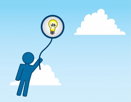 Man holding onto Idea balloon floating into the sky  Vector