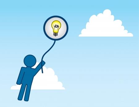 Man holding onto Idea balloon floating into the sky Stock Vector - 17472855