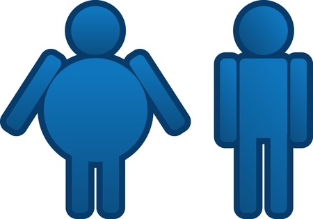 Fat to thin blue man icon  Vector