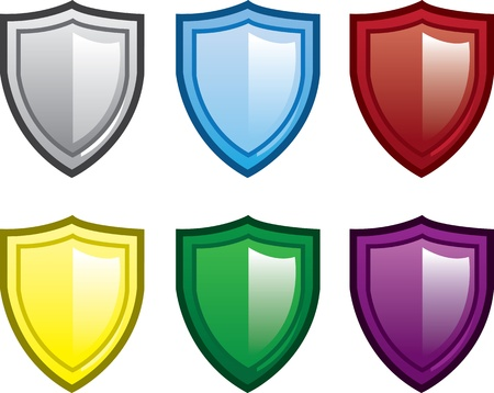 Isolated shields in various colors  Иллюстрация