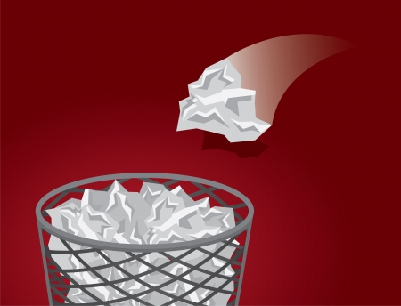 throwing: Throwing crushed paper into a mesh garbage   Illustration