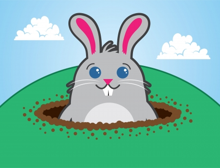 burrow: Cartoon bunny character on top of a hill  Illustration