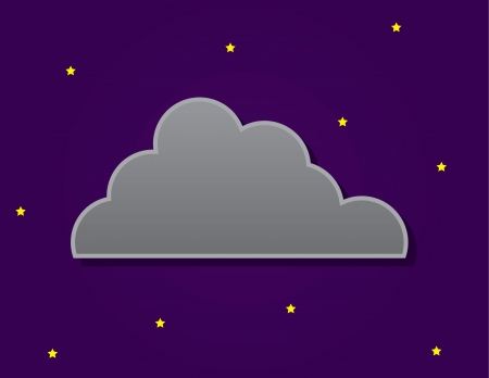 Simple dark cloud in front of nighttime sky with stars  Stock Vector - 17567157
