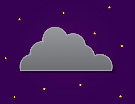 dark cloud: Simple nube oscura delante del cielo nocturno con las estrellas Vectores