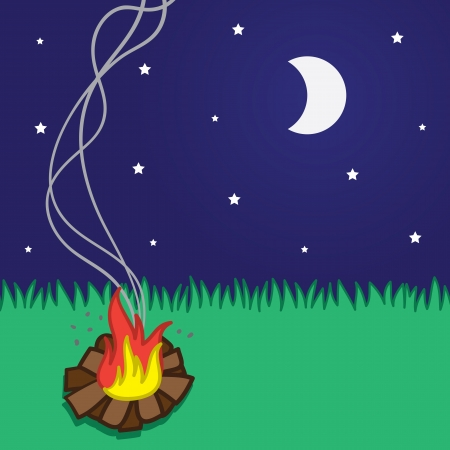 Small campfire scene with moon and stars Stock Vector - 17567162