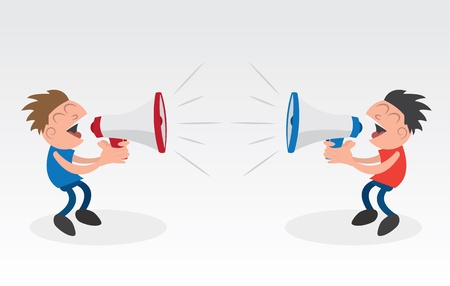 disagreement: Two people yelling into megaphones   Illustration