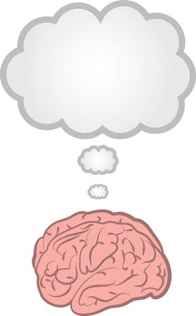 Brain with blank floating thought bubble   Illusztráció