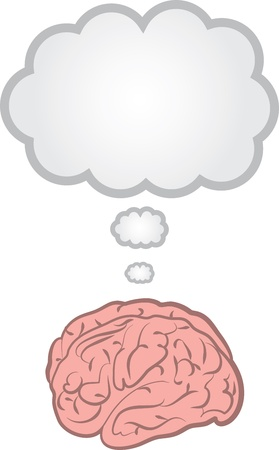 lobes: Brain with blank floating thought bubble   Illustration