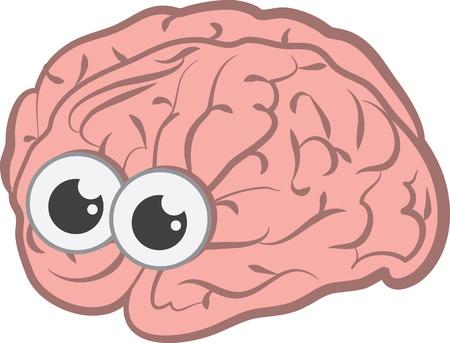 Isolated cartoon brain with eyes