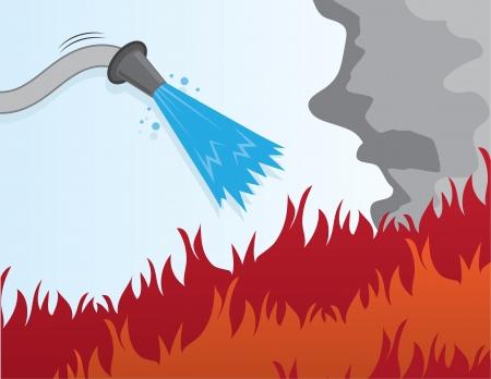 ホースを流れる水の火を消す  イラスト・ベクター素材
