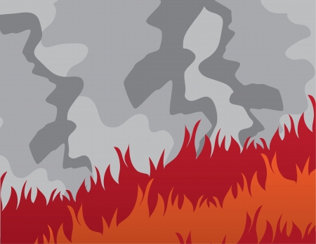 Large fire with billowing dark smoke Stock Vector - 17567168
